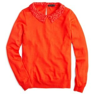 J. Crew Tippi Sweater with Lace Collar in Cerise